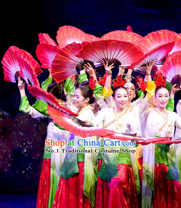 Korean Traditional Fan Dancing Costumes and Headpiece for Girls