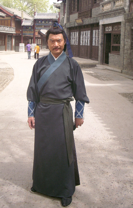 China Black Kung Fu Master Suit Robe for Men