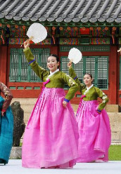 Korean Traditional Palace Fan Dance Costumes for Women