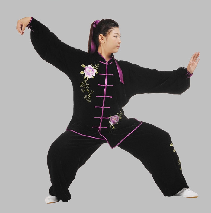 Black Velvet Embroidery Kung Fu Pants and Blouse Complete Set for Women