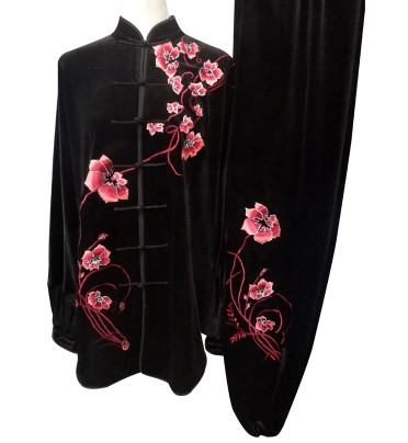 Black Velvet Embroidered Flower Kung Fu Suits Complete Set for Women