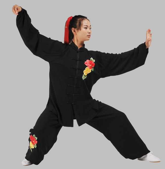 Black Velvet Embroidery Floral Kung Fu Suit Complete Set for Women