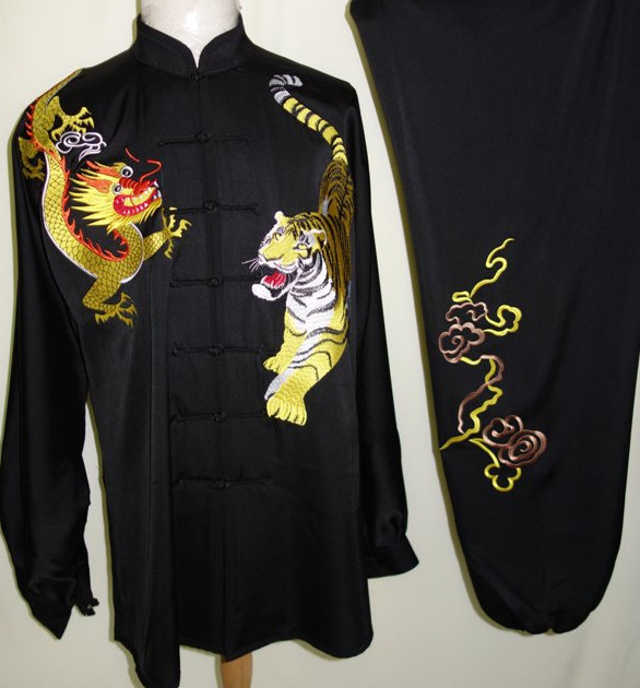 Black Dragon and Tiger Embroidery Silk Martial Arts Tai Chi Blouse Pants and Belt Complete Set