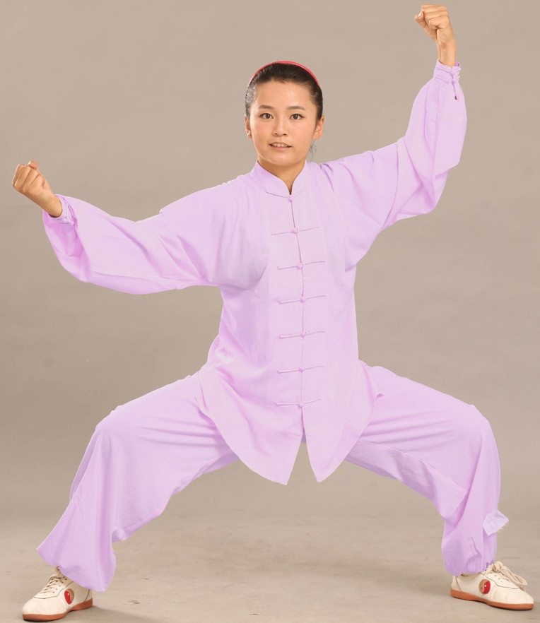 Blue Long Sleeves Flax Martial Arts Uniforms