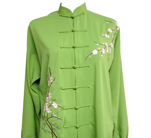 Top China Light Green Plum Blossom Embroidered Flower Taiji Suits