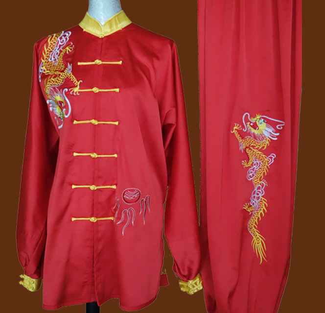 Top China Dragon Embroidery Red Taiji Suits