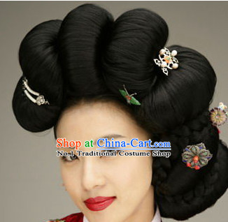 Korean Traditional Hanbok Black Wig