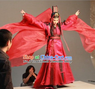 Chinese Top Kung Fu Master Dong Fang Bu Bai Red Costumes and Hat Complete Set