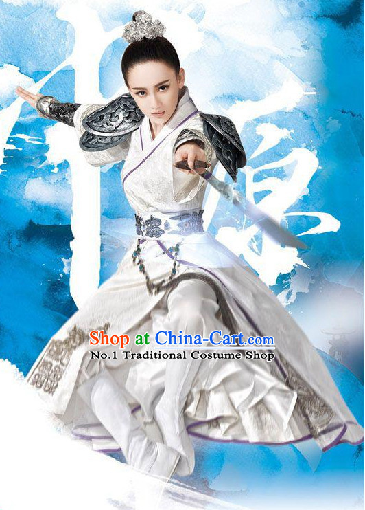 Chinese Swordsmen Costumes and Hair Accessories Complete Set