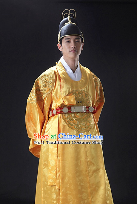 Korean Ancient Royal Emperor Costumes and Hat for Men