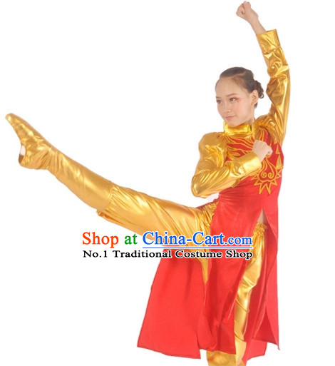 Chinese Drum Player Dance Costumes Complete Set for Women