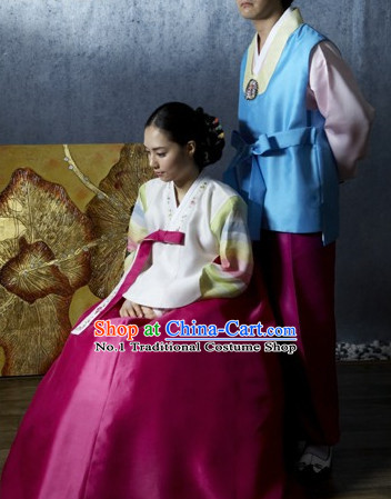 Korean Brides and Bridegrooms Wedding Hanbok Clothes Complete Set for Men and Women