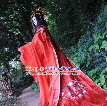 Chinese Red Wedding Hanfu Dresses for Brides