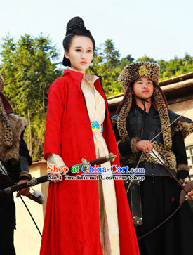 Chinese Red Swordswomen Hanfu Clothing Asia fashion China Civilization Complete Set