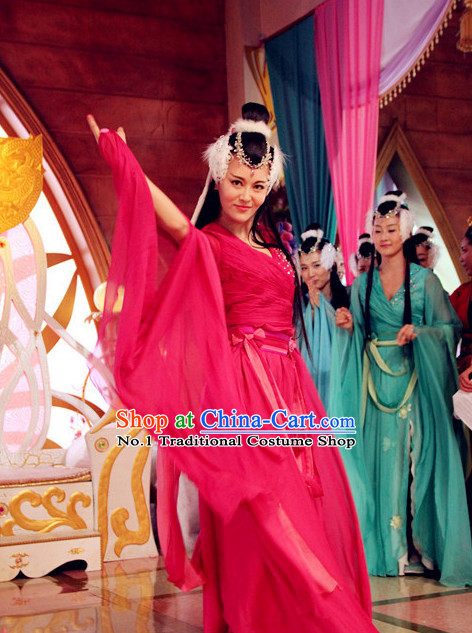 Chinese Classical Dance Costumes Hanfu Clothing Asia fashion China Civilization Complete Set
