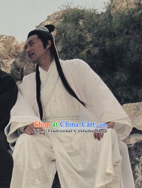 Chinese Ancient White Hanfu Costumes and Hair Bands Complete Set for Men