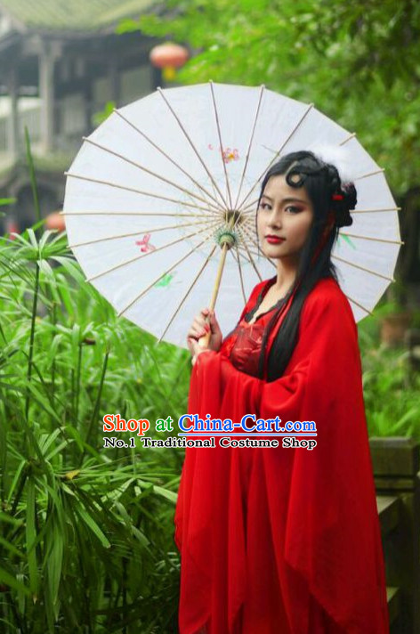 Chinese Kimono Costumes Asian Fashion Red Fairy Costume Complete Set for Girls
