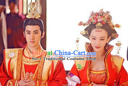 Chinese Traditional Emperor and Empress Hair Accessories and Jewelry 2 Sets