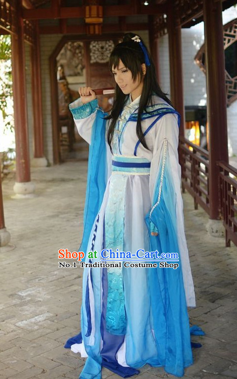 Top Chinese Halloween Costumes Asian Fashion Blue Fairy Costume Complete Set for Women