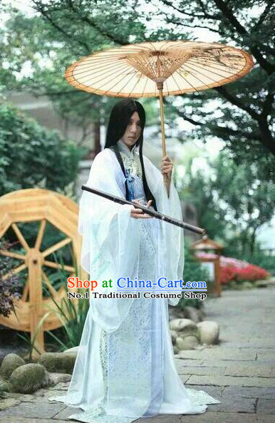 Asian Fashion Chinese Umbrella Hanfu Clothing Complete Set for Men