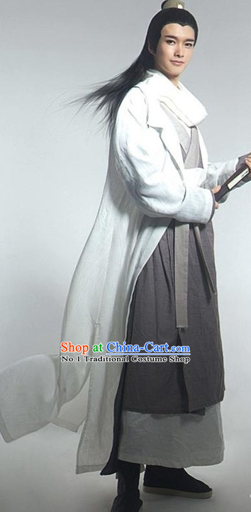 Asian Fashion Chinese Kung Fu Master Clothing and Hair Jewelry Complete Set for Men