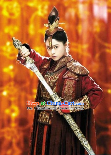 Asian Fashion Chinese General Armor Costumes Complete Set for Women