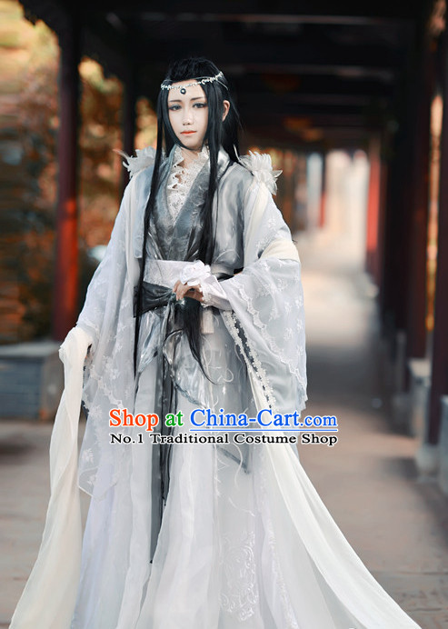 Asian Fashion Chinese Empress Cosplay Halloween Costumes and Hair Jewelry Complete Set for Women