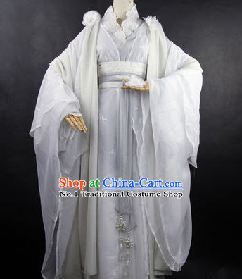 Asian Fashion Chinese Pure White Hanfu Clothes Complete Set for Men