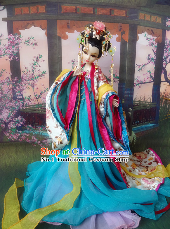 Asian Fashion Chinese Empress Kimono Costumes and Hair Jewelry Complete Set