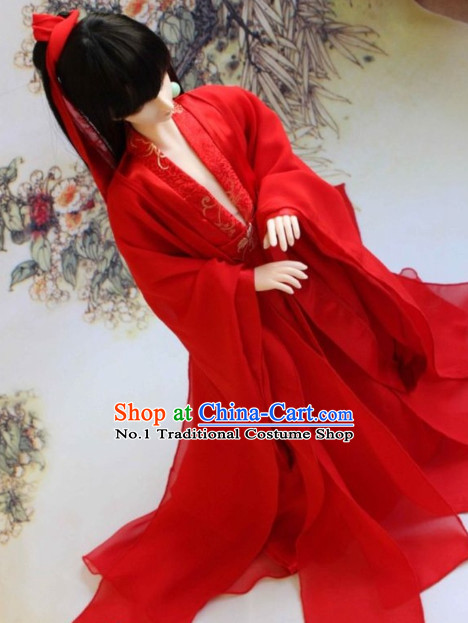 Asian Fashion Chinese Red Swordsman Costumes Hanfu Complete Set for Men