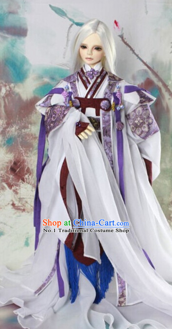 Asian Fashion Chinese Imperial Swordman Costumes Hanfu Dresses Complete Set for Men