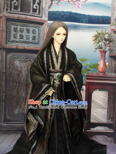 Asia Fashion China Civilization Chinese Black Costumes Hanfu Dresses Complete Set for Men