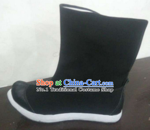 Handmade Chinese Traditional Men Black Leather Shoes Footwear