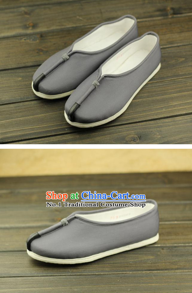 Grey Handmade Chinese Traditional Fabric Shoes Footwear