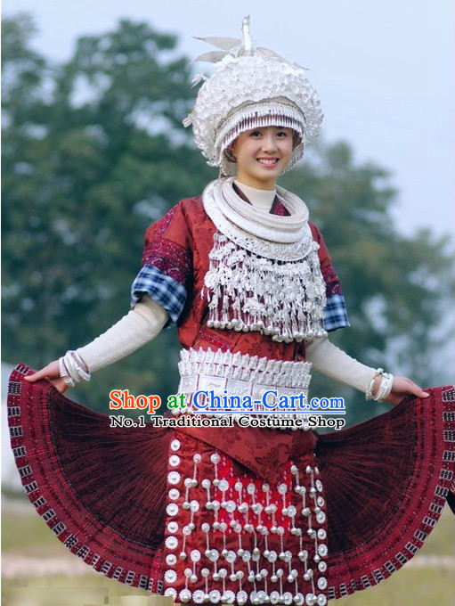 Oriental Chinese Traditional Miao Dress Ethnic Clothing and Silver Hat Necklace Complete Set