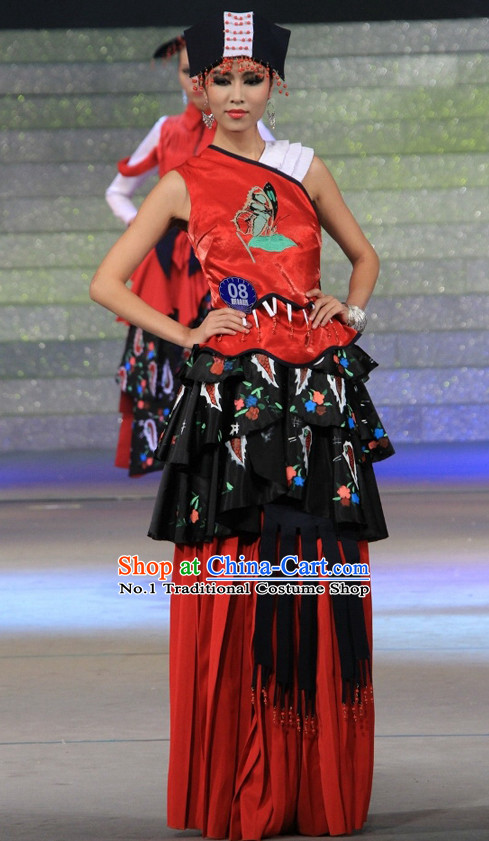 Chinese Traditional Ethnic Dress and Hat Complete Set for Women