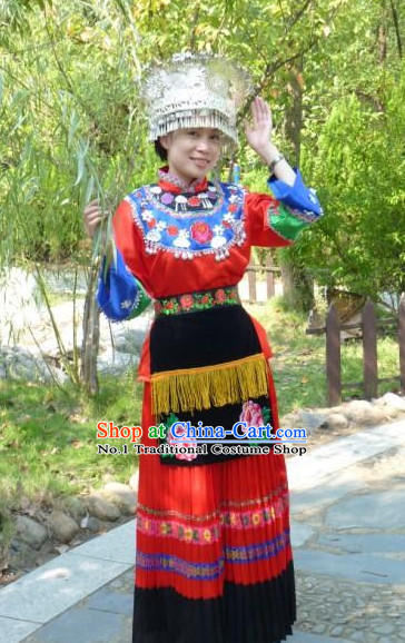Asian Fashion Chinese Traditional Ethnic Oriental Clothing and Hat Complete Set