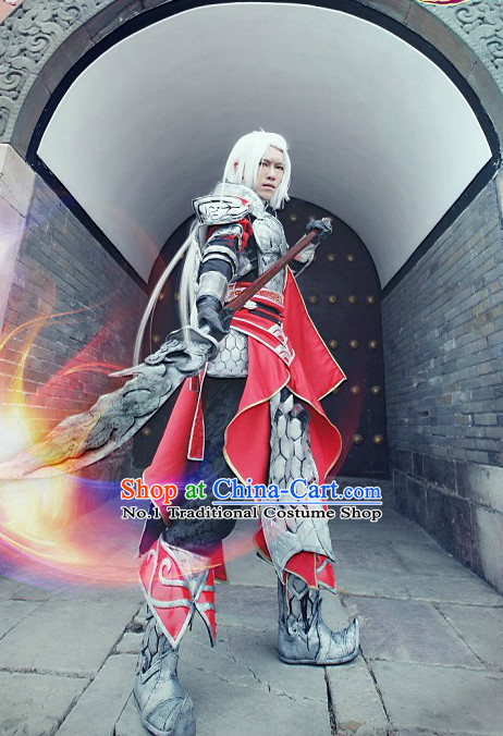 Chinese Cosplay General Armor Costumes and Headdresses Complete Set for Men