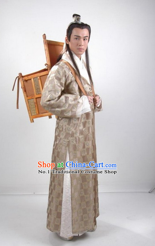 Chinese Ancient Young Scholar Costumes Complete Set for Men
