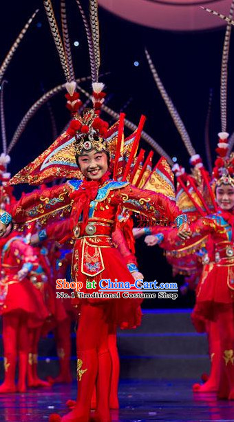 Chinese Peking Opera Beijing Opera Kids Dance Costumes and Hat Complete Set