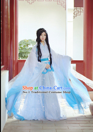 Asia Fashion Ancient China Culture Chinese Traditional White Princess Clothes for Women