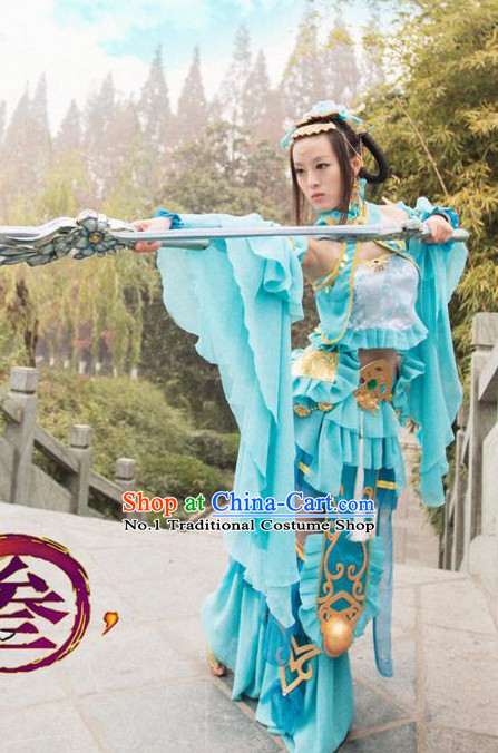 Asia Fashion Ancient China Culture Chinese Princess Clothes and Hair Accessories Complete Set