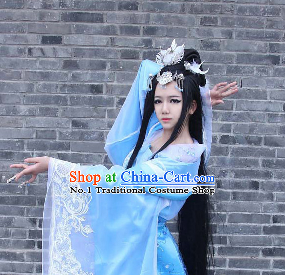 Asia Fashion Ancient China Culture Chinese Wide Sleeves Kimono Dress and Hair Accessories