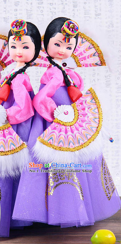 Korean Traditional Hanbok Fan Dancer Statue