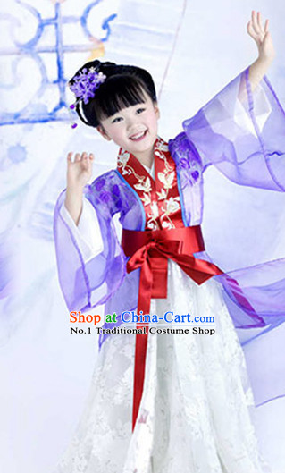 Asian Fashion Chinese Ancient Fairy Costumes and Hair Jewelry Complete Set for Kids