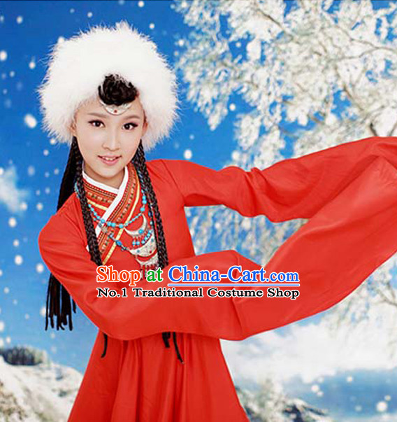 Asian Fashion Chinese Traditional Tibetan Costumes and Hat Complete Set for Kids