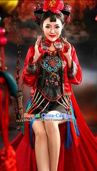 Asian Fashion Chinese Sexy Halloween Costumes and Hair Accessories Complete Set