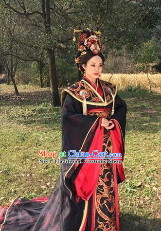 Chinese Ancient Queen Clothing and Hair Jewelry Complete Set