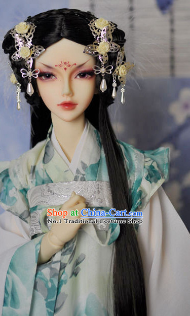 Asia Fashion Chinese Princess Black Long Wig and Hair Accessories Headbands Hair Jewelry