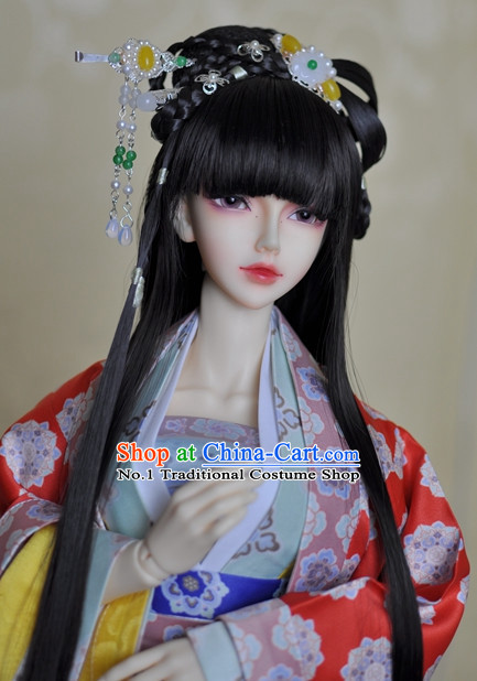 Traditional Chinese Black Long Wig and Hair Accessories Hair Jewelry